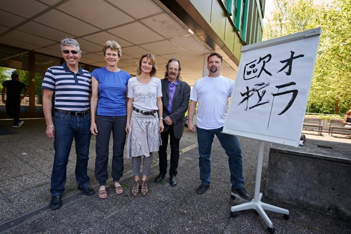 Lehrpersonen, die Gastschüler betreuen: Raphael Ugolini (Liestal), Christine Kohler (Laufen), Monika Rohner (Muttenz) und die Lehrer Wilfried Ebert und Timo Körner