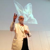 Don Salvatore erklärt die technische Nutzung des Echoortungsprinzips von Fledermäusen für sehbehinderte Menschen.