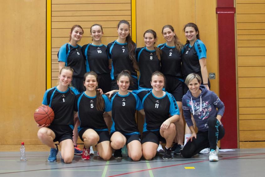Das Sympathieteam aus Oberwil auf Platz 3 mit Coach Andrea Kohler