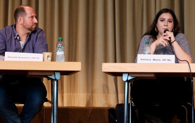 Dominik Straumann (SVP BL) und Samira Marti (SP BL)