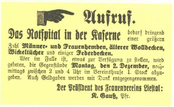 Aufruf zur Spende von Kleidern und Tüchern (Basellandschaftliche Zeitung 283 (1. Blatt), 30. November 1918)